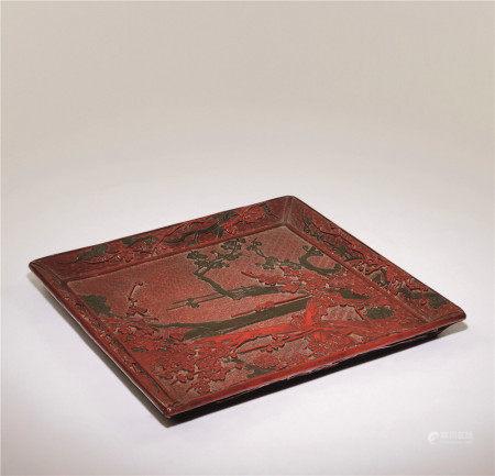 清十八世紀 雕彩漆紅綠梅方盤