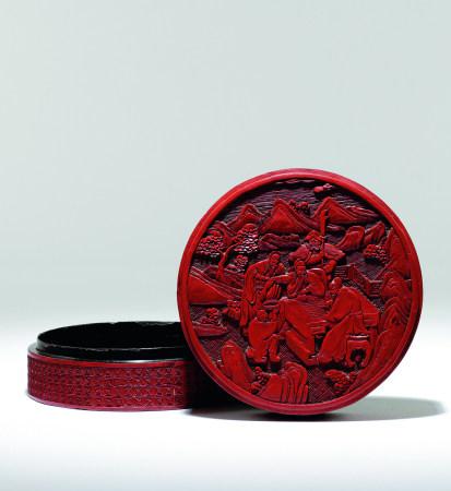 清 剔紅三國故事圖圓盒