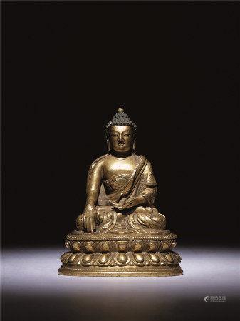 清十八世紀 銅鎏金無量壽佛