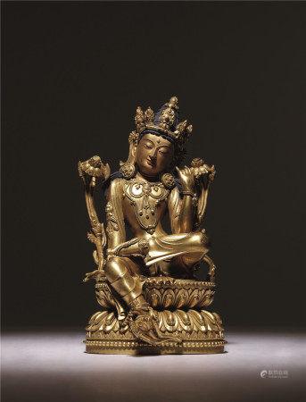 明 銅鎏金自在觀音像