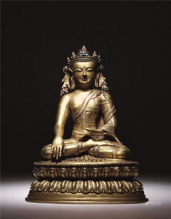十五世紀 銅鎏金釋迦牟尼座像