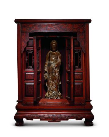 清 木雕觀音、紅木佛龕