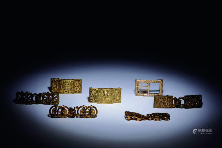 清 銅鎏金帶鉤七件