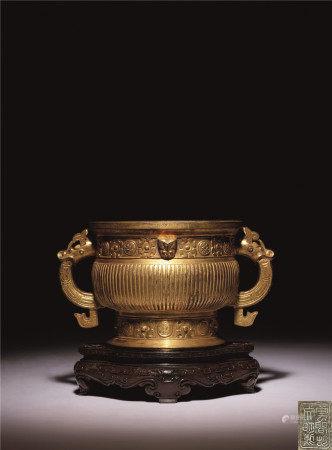 清 銅鎏金獸面紋簋式爐