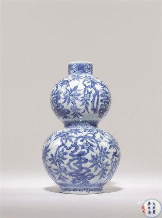 清 青花福壽紋葫蘆瓶