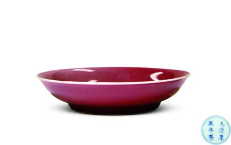 清康熙 紅釉盤