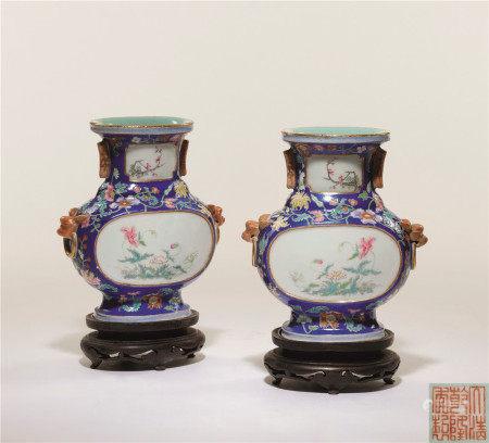 清 藍地粉彩開光四季花卉扁瓶一對