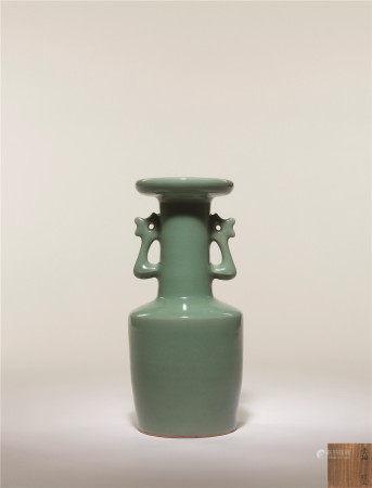 宋 龍泉青瓷雙鳳耳盤口瓶