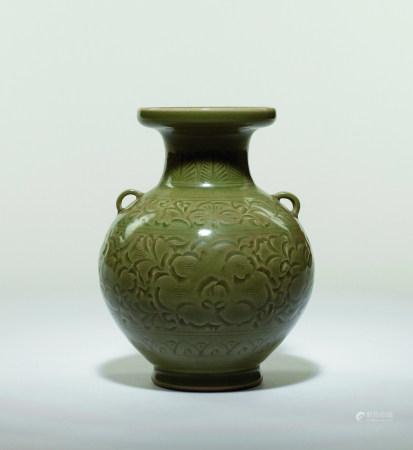 宋 耀州窯刻花雙耳瓶