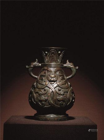 宋 青銅錯金銀交龍紋獸耳壺