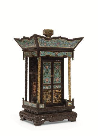 清中期 掐絲琺瑯鎏金龍柱紅木佛龕