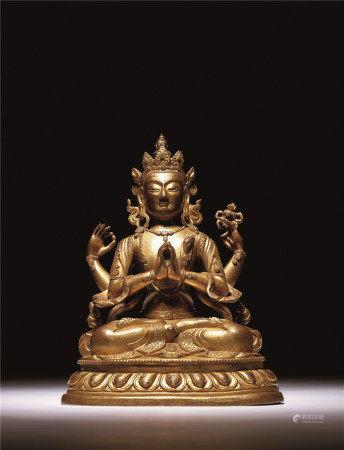 清十八世紀 銅鎏金四臂觀音
