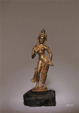 銅鎏金度母立像