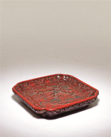 明十六世紀 剔彩漆捷報圖萎角方盤