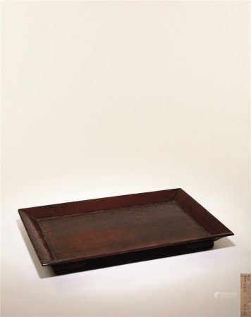 宋-元 褐漆素面滿斷紋長方盤