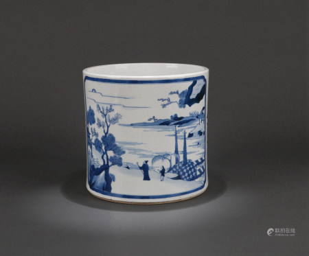 A CHINESE BLUE AND WHITE BRUSH POT,  QING DYNASTY