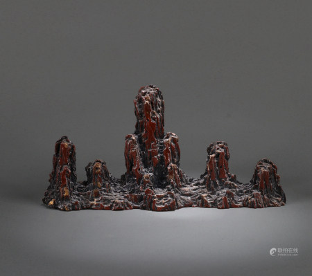 A CHINESE FAUX STONE BRUSH HOLDER, QIANLONG MARK, QING DYNASTY