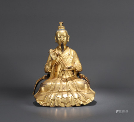 A RARE CHINESE BRONZE FIGURE OF A DAOIST IMMORTAL, 18TH CENTURY