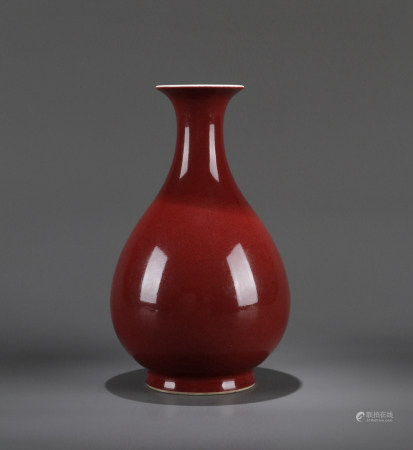 A CHINESE COPPER-RED GLAZED PEAR SHAPED VASE, DAOGUANG MARK, 19TH CENTURY