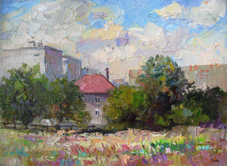 Oil painting House with a red roof Serdyuk Boris Petrovich