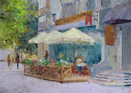 Oil painting Spring on European street Serdyuk Boris Petrovich