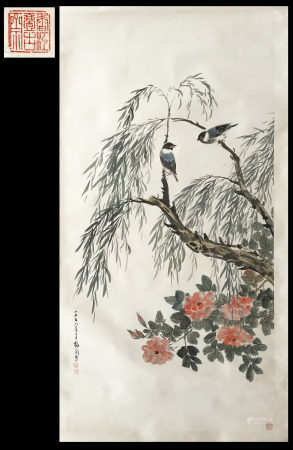 FROM YIGUZHAI HONGKONG GALLERY COLLECTION CHINESE SCROLL PAINTING OF BIRD AND FLOWER SIGNED BY MEI LANFANG