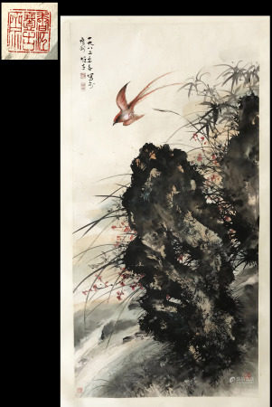 FROM YIGUZHAI HONGKONG GALLERY COLLECTION CHINESE SCROLL PAINTING OF BIRD BAMBOO AND ROCK SIGNED BY LI XIONGCAI