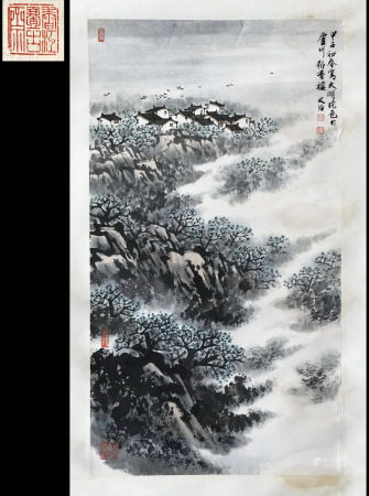 FROM YIGUZHAI HONGKONG GALLERY COLLECTION CHINESE SCROLL PAINTING OF MOUNTAIN VIEWS SIGNED BY SONG WENZHI