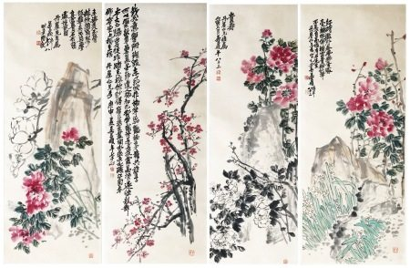 FOUR PANELS OF CHINESE SCROLL PAINTING OF FLOWER AND ROCK SIGNED BY WU CHANGSHUO