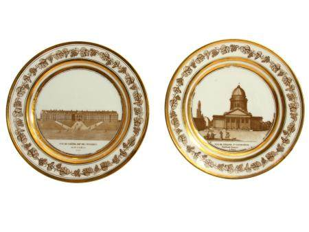TWO FRENCH GILT PORCELAIN HAND PAINTED PLATES