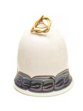ART DECO HAND-BLOWN AND PAINTED GLASS LAMP SHADE