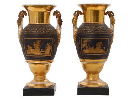 TWO FRENCH CHINOISERIE PORCELAIN VASES, 19 C.