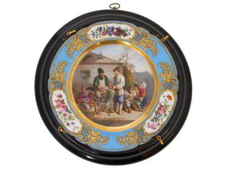 A HAND-PAINTED PORCELAIN PLATE BY FEUILLET NEVEU