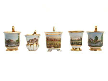 A SET OF FIVE GERMAN PORCELAIN WITH SCENERY 19 C