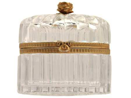 A FRENCH GILT-BRONZE CRYSTAL BACCARAT BOX 19TH C
