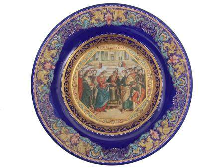 A FRENCH ENAMEL-PAINTED CHARGER PLATE, CIRCA 1900