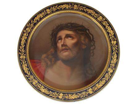 ROYAL VIENNA HAND-PAINTED CHRIST PORCELAIN PLATE