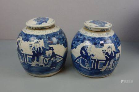 PAAR INGWERTÖPFE / DECKELDOSEN / DECKELVASEN / pair of ginger jars, late Qing dynasty, Porzellan,