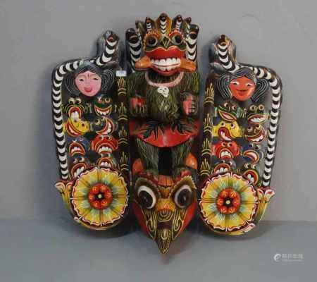 MASKE / DÄMONENMASKE / FABELTIERMASKE / mask, Sri Lanka, 20. Jh.; Holz, geschnitzt und polychrom