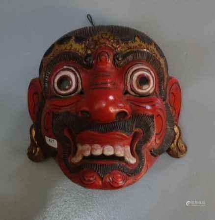 WAYANG TOPENG MASKE / mask, Holz, geschnitzt und farbig gefasst, Java / Indonesien. Aufgewölbte