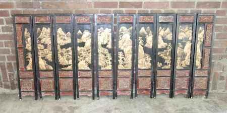10 PANEELE MIT LACKMALEREI / ZEHNTEILIGER TISCHSTELLSCHIRM TISCH - PARAVENT, China, 19. Jh.;