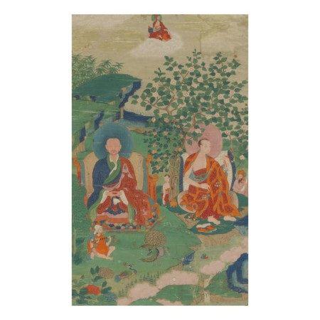 A THANGKA DEPICTING CHUDAPANTAKA AND KANAKAVATSA, TIBET, 19TH CENTURY
