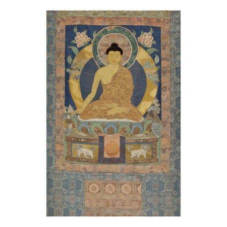 AN APPLIQUÉ THANGKA DEPICTING RATNASAMBHAVA, TIBET 17TH/18TH CENTURY