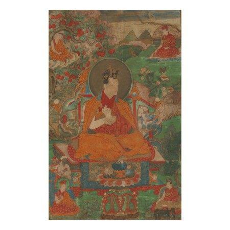 A THANGKA DEPICTING THE 7TH KARMAPA, CHODRAK GYATSO,  TIBET, 17TH CENTURY
