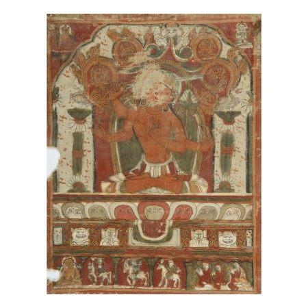 A THANGKA DEPICTING MANJUSHRI,  TIBET, 13TH/14TH CENTURY