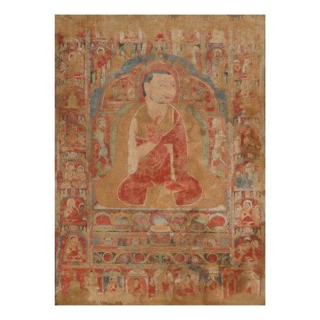 A THANGKA DEPICTING PHAGMODRUPA,  TIBET, CIRCA 13TH CENTURY