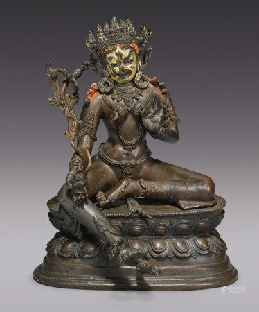 A COPPER ALLOY FIGURE OF RED TARA, TIBETO-CHINESE, 19TH CENTURY