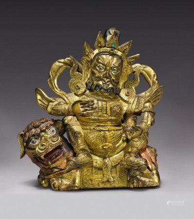 A GILT COPPER ALLOY FIGURE OF VAISHRAVANA,  TIBETO-CHINESE, 18TH CENTURY