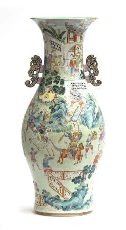A very large 19th century Chinese famille verte baluster vase (af), with kui dragon handles,