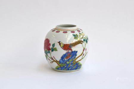 A Chinese ginger jar, painted in polychrome with images of a rooster and a chrysanthemum, marked